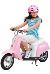 girl riding Razor Pocket Mod Scooter