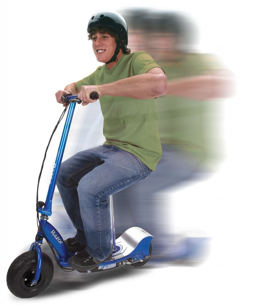boy riding Razor E300S